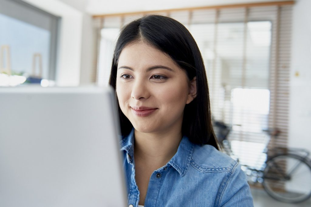 Asian woman working in the office